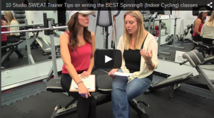 A still shot from a YouTube video on how to write a good Spinning class.