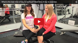 A still shot of a video discussing the best time of day to exercise.
