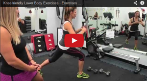 A still shot of a YouTube video discussing knee-friendly exercises.
