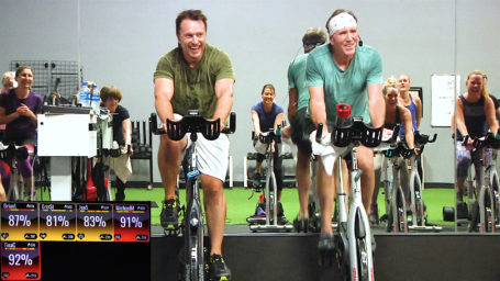 one hour on-line indoor cycling class Cycling Shoots & Ladders
