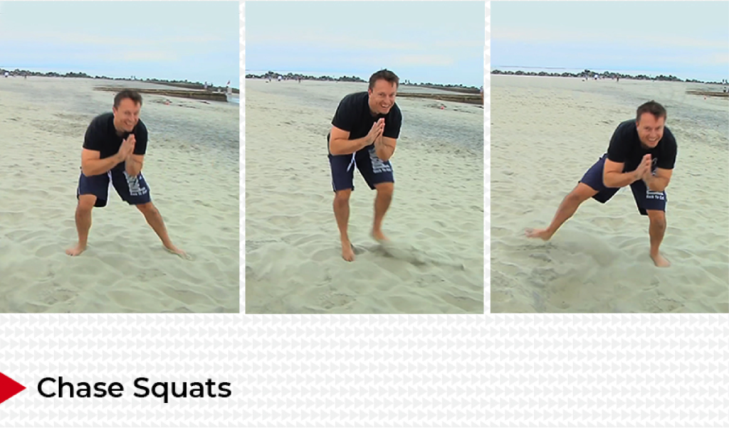 beach exercise chase squats