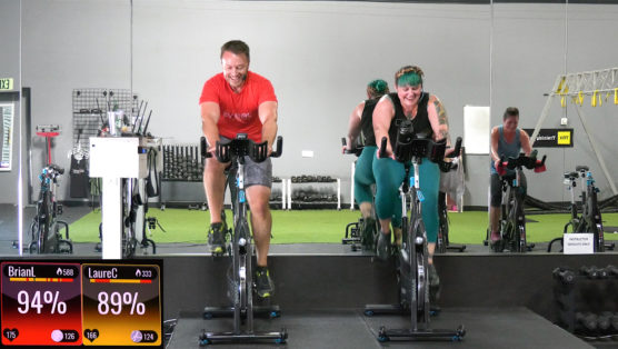Spin & Strength Fusion Class with all body-weight only exercises Brian + AJ = SO FUN!