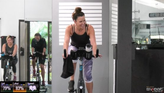 30-minute high-intensity cycling class with Cat Kom When the SWEAT Cries