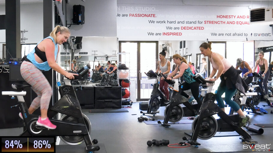 20-minute calorie-burning indoor cycle Express Endurance Sweat
