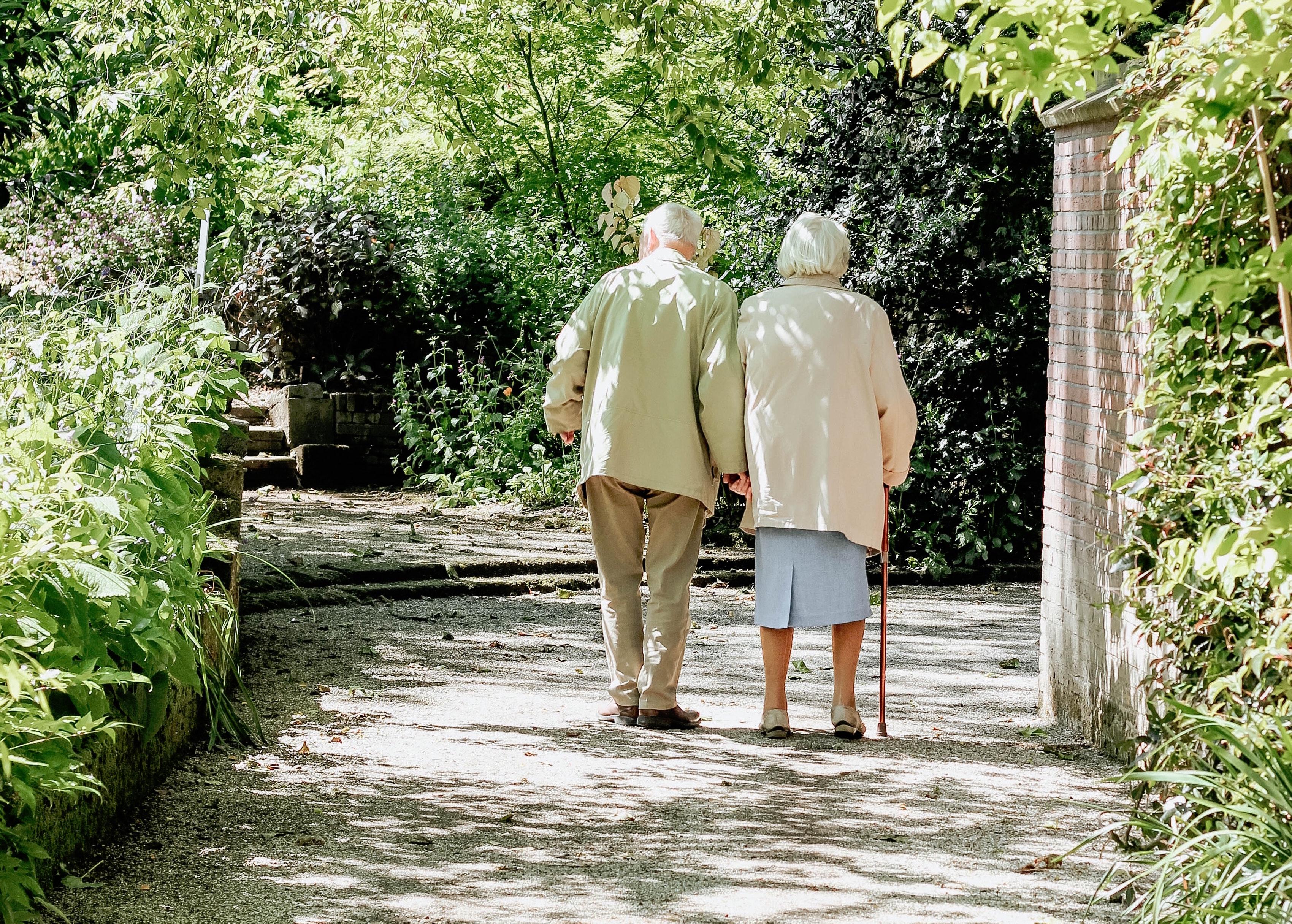 couple taking a walk outside