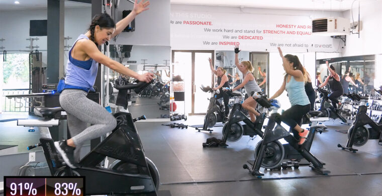 spin class with choreographed movement patterns Pedal to a Pattern