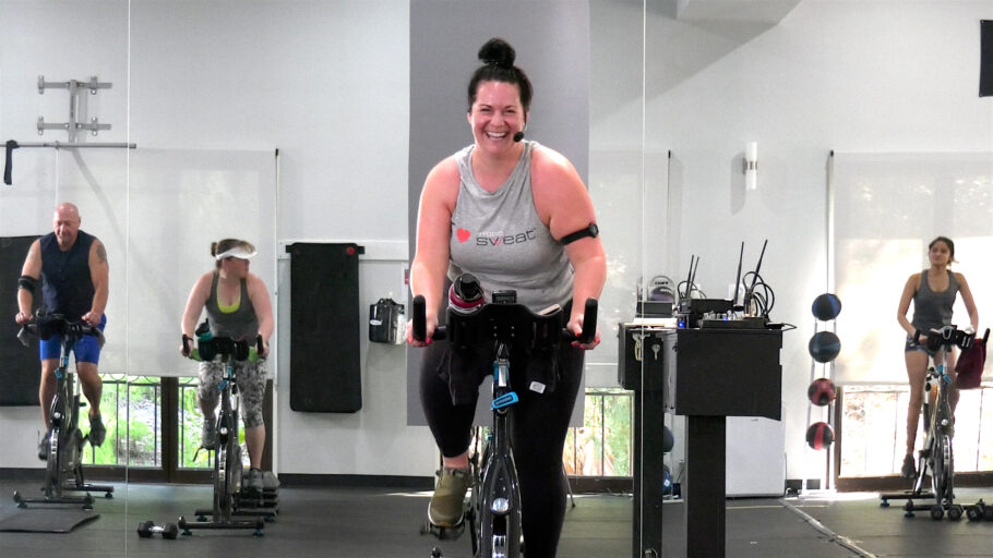 indoor cycle workout with a summer vibe
